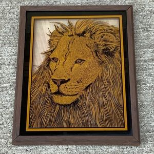 Vintage Tom Cryer reverse glass lion picture